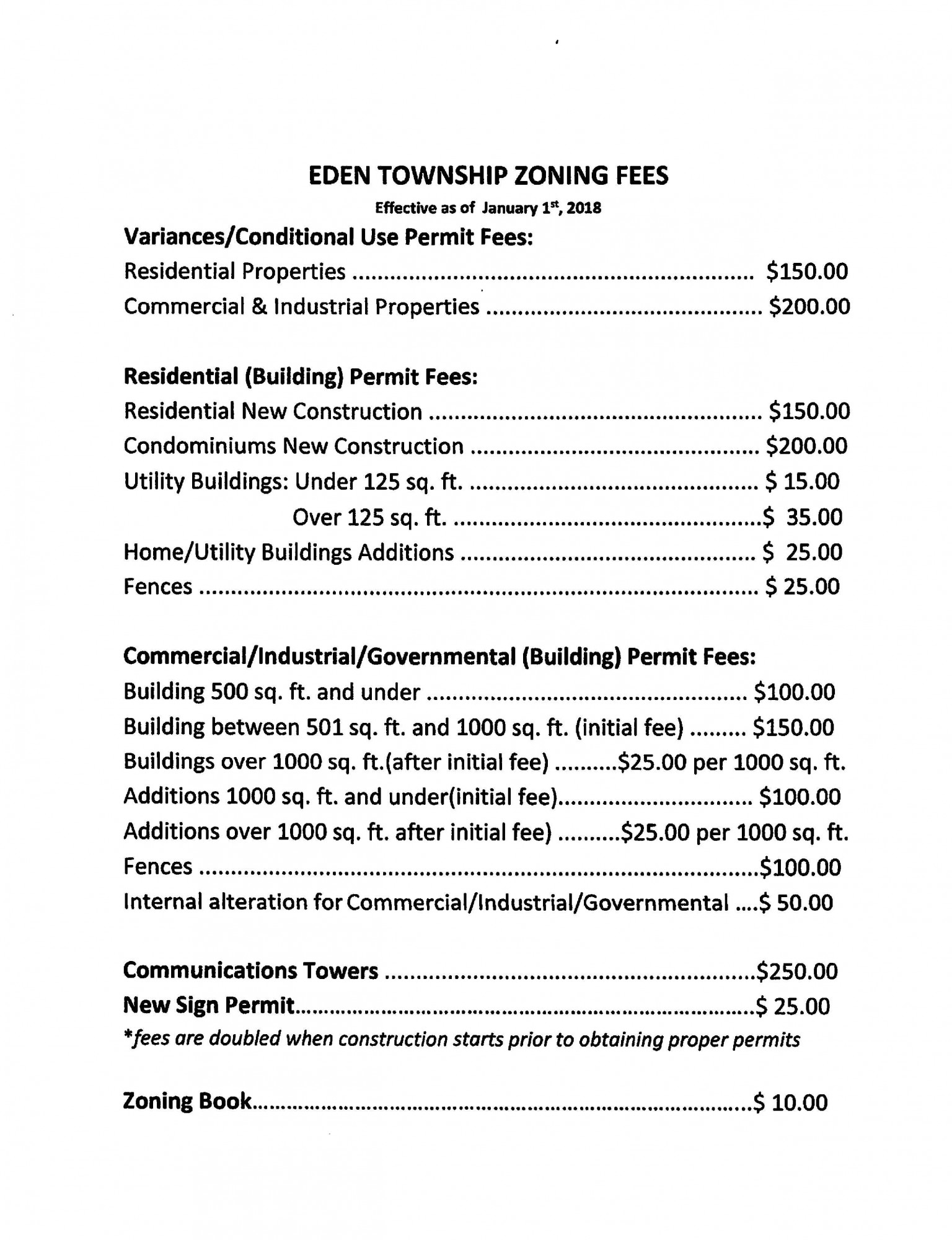 Eden Township Zoning Fees as of 01/01/2018